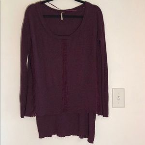free people plum lace asymmetrical small sweater